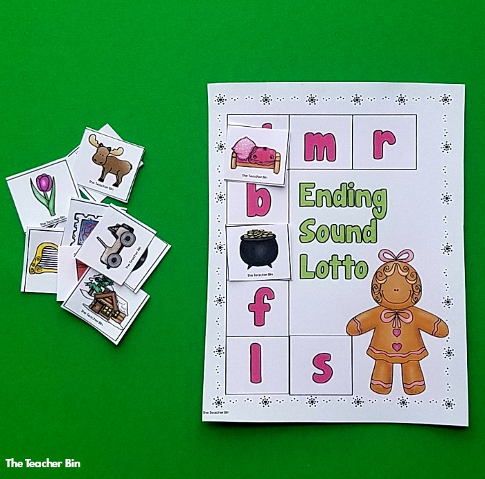Gingerbread Ending Sound Game.  The perfect way to work on ending sounds during the holiday season.  Add this to your literacy centers or workshop for the month of December.  Perfect addition to your gingerbread activities! #kindergarten #literacy #gingerbread