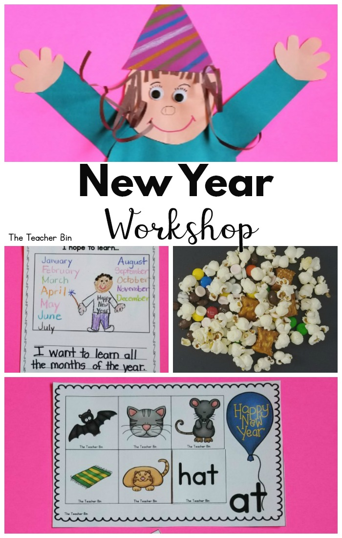 This workshop includes New Years math activities, New Years literacy activities. I also for holiday math activities or holiday literacy activities. It's so much fun! Check out this set up!