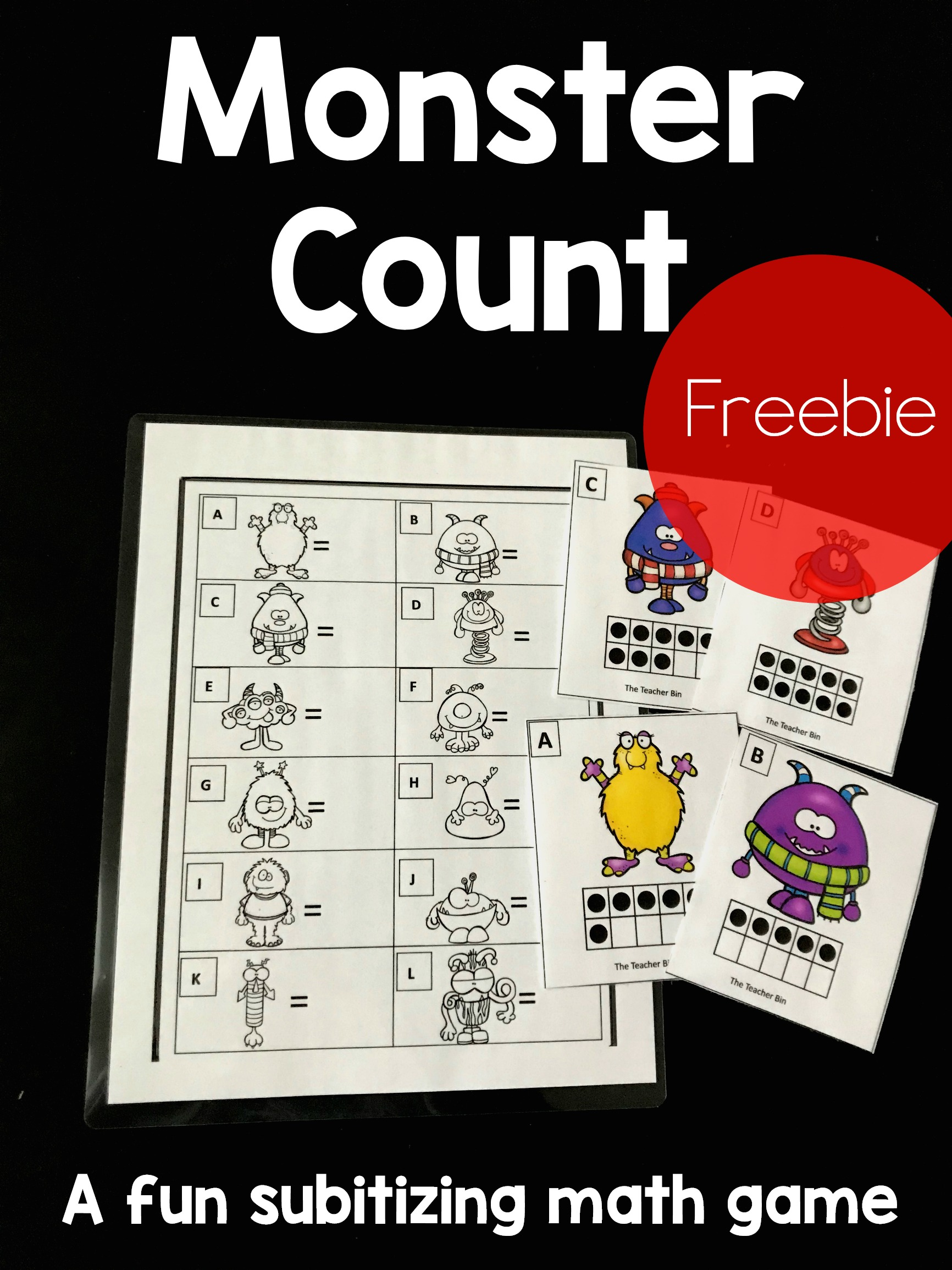 A fun kindergarten subitizing math game for Kindergarteners. A monster themed game to help kindergarteners recognize a group rapidly, specially groups of numbers.