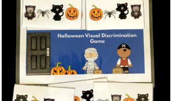 Fun Halloween visual discrimination game for kindergartners. Kindergartners will love matching spiders, pumpkins, cats and owls! Great for developing early reading and math skills.