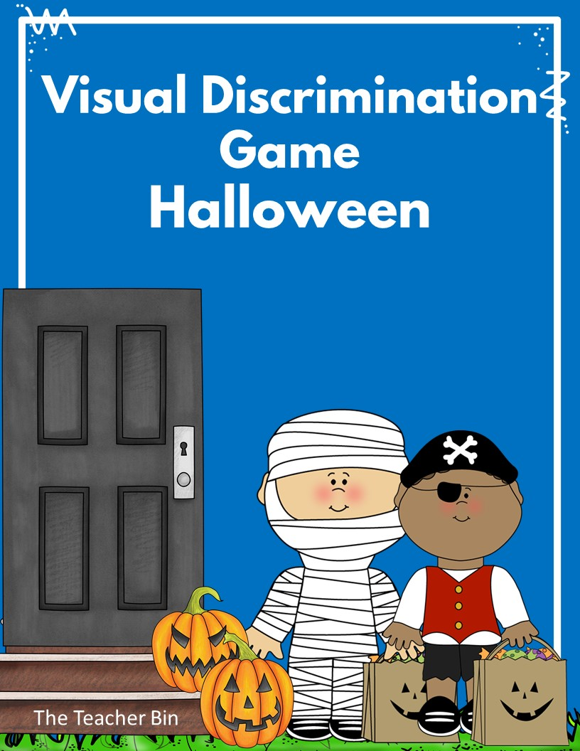Great Kindergarten Halloween themed Visual Discrimination Game. Kids will love the game where they match rows of spiders, owls, pumpkins and bats. Great for developing early math and reading skills.