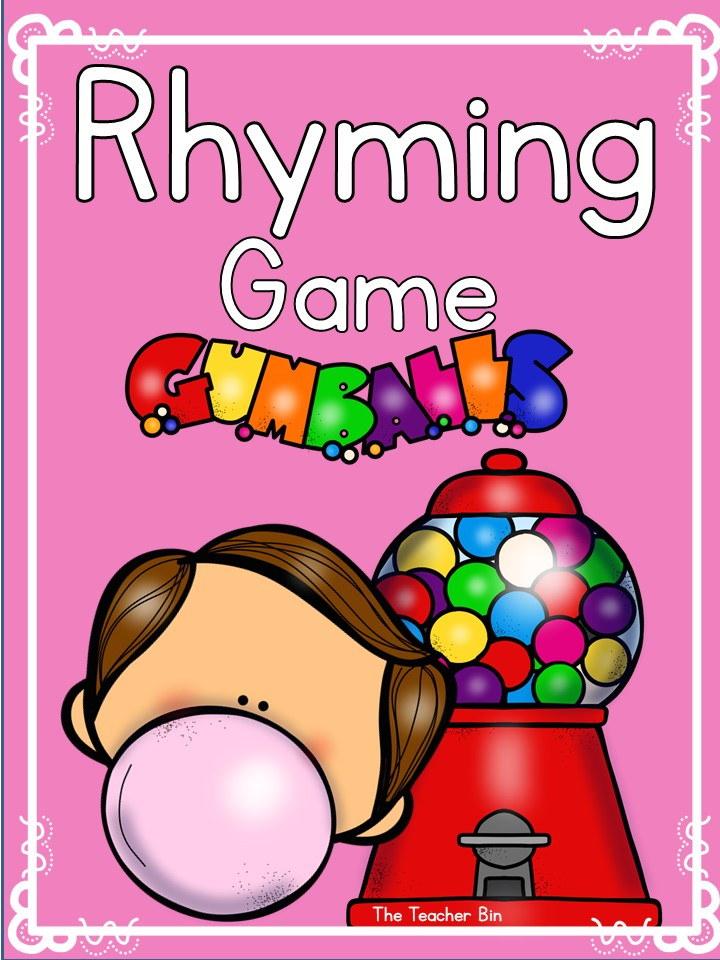 Fun Kindergarten Gumball Themed Rhyming Game! Kids will love this fun pre-reading activity! Great for the classroom or at home!