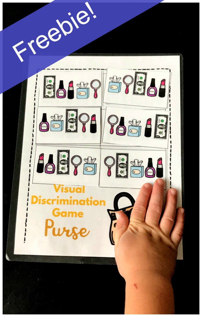 A fun visual discrimination game for kindergarteners! Purse themed visual discrimination game helps develop important early reading and math skills. Kindergarteners will love figuring out the matches of the money, nail polish and more!