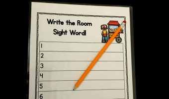 Fun kindergarten write the room sight word game to use in the classroom! This great printable is a great way to get kindergartners up and around the room while learning.