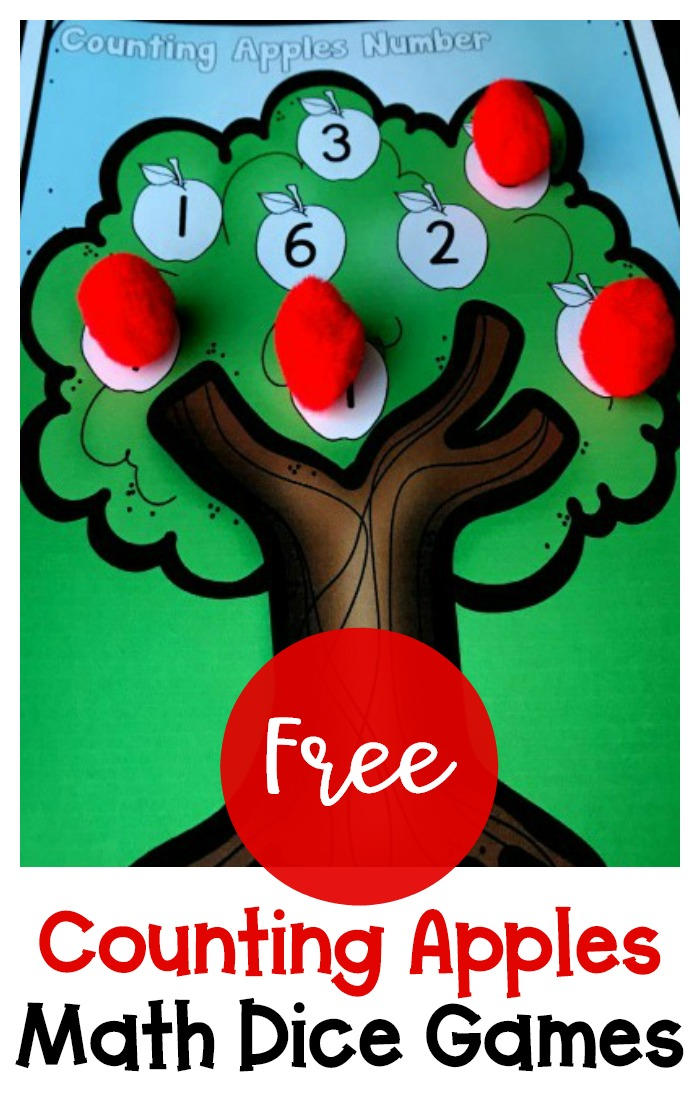 Kindergarten Counting Apples Dice Games is a great way to reinforce counting, dice recognition and early addition of dice. Fun apple themed games will engage kids to learn counting.