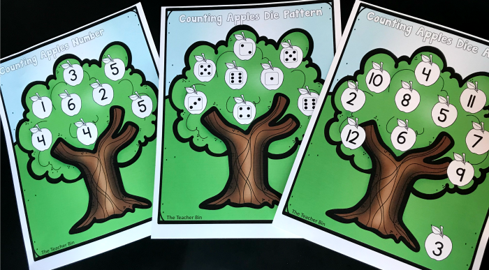 A fun Kindergarten Counting Apples Dice game is great for reinforcing counting, number recognition and die recognition. Kids will love this fun apple themed math game!
