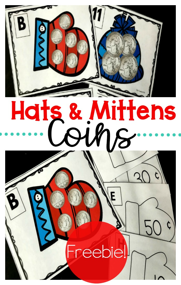 Fun FREE hats and mittens game to teach kids the value of coins. This game features nickels, dimes and quarters in a fun winter themed games. These games are great for kindergarten and 1st grade.