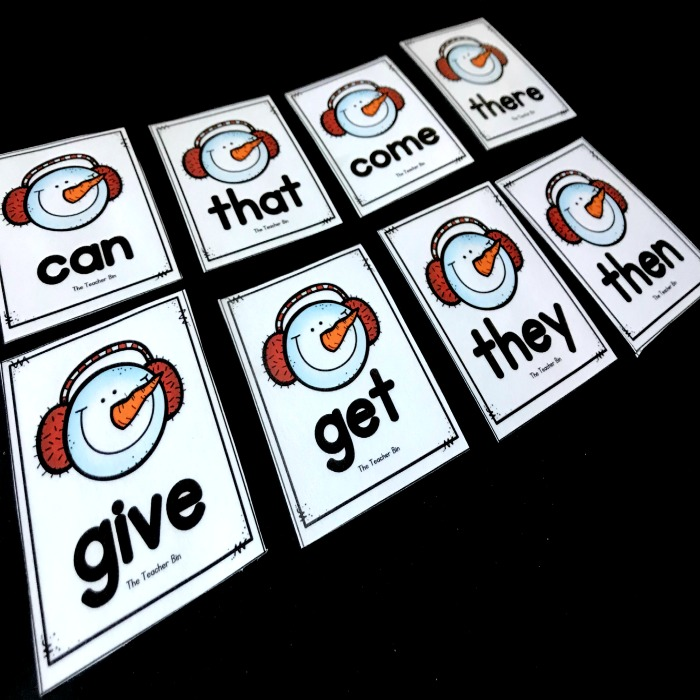 Kindergarten Snowman themed sight word card game keeps kids engaged while learning.