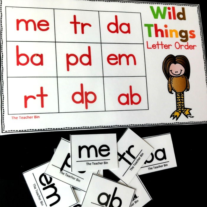 Kindergarten The Wild Things Visual Discrimination Game is great for developing early reading skills. Fun themed letter order recognition game.