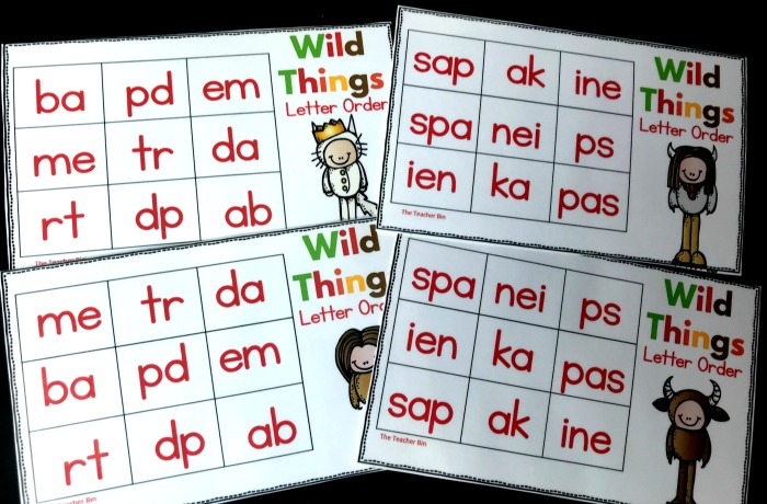 Kindergarten Wild Things Visual Discrimination Game is great for teaching early reading skills.