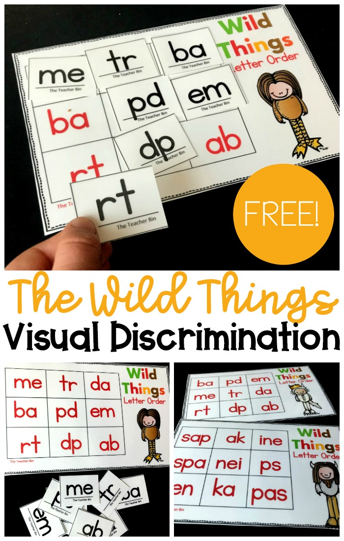 A fun kindergarten visual discrimination game that has a fun Wild Things theme! Kids will love working on their early reading skills.