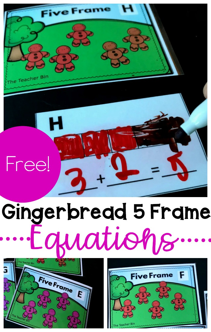 Fun Kindergarten 5 frame equation cards have a fun gingerbread man theme.